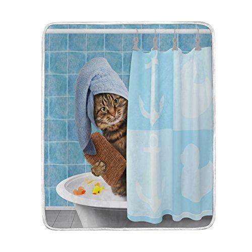 Use7 Home Decor schöne Badedecke mit Katzenmotiv, weich, warm, für Bett, Couch Sofa, leicht, für Reisen, Camping, 127 cm x 152,4 cm, Überwurfgröße für Kinder, Jungen und Frauen