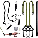 FULIM Bodyweight Resistance Straps Training Kit, with Resistance Band for Full Body Strength Workout, Easy Setup Home Gym Outdoor Fitness Equipment Training Set - Olive Green
