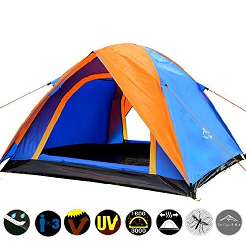Mdsfe Waterproof Camping Hiking Fishing Tent Separated Dual Layer Travel Tent 4 Season Anti UV Beach Tent for 3-4 Person Family - Blue and Orange, a2