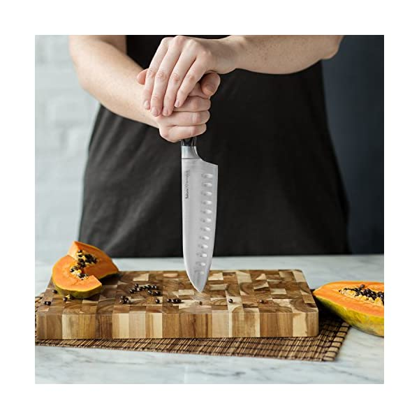 Cuchillo de Cocina Santoku Sakura (17 cm) & Tabla para Cortar de Madera de Acacia (35cmx25cmx 3cm) Cuchillo cebollero…