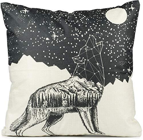 Puccybell KB005 - Federa per cuscino, motivo: lupo, stampa digitale, 45 x 45 cm, colore: bianco e nero