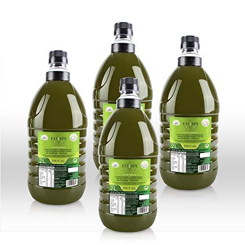 Aceite de Oliva Virgen Extra Premium Estirpe Sin Filtrar -PICUAL- 4 Garrafas de 2 Litros. Nueva Cosecha 2.019/20.