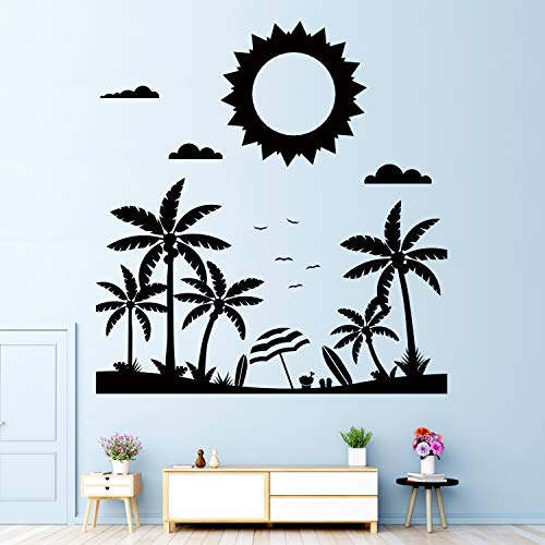 VODOE Sun Wall Decal, Palm Tree Wall Decal, Plant Beach Sky Clouds Bird Coconut Tree Grass Leaf Stickers Suitable for Family Living Room Vinyl Art Home Decor(Black 24 X 25.5inches)