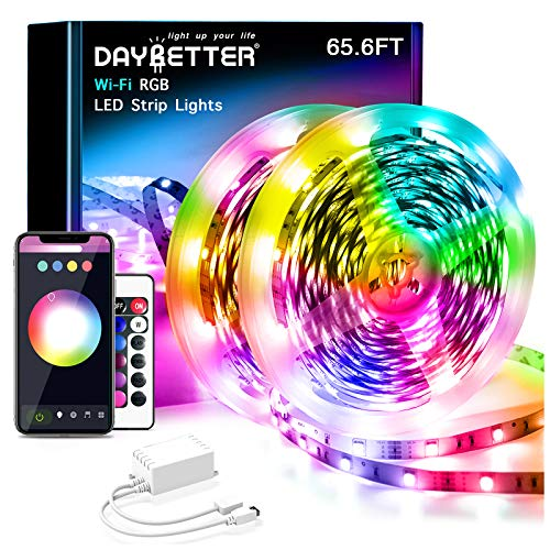 Daybetter 65.6ft WiFi Smart Led Lights with App Control for Bedroom Decoration(2 Rolls of 32.8ft)