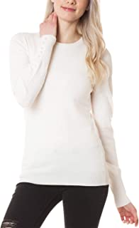 Womens Pearl Button Long Sleeve Soft Cashmere Feel Crew Neck Pullover Warm Fitted Knit Sweater Top