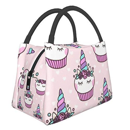 Bolsa de aislamiento portátil, lindo unicornio Cupcake, bolsa de almuerzo duradera Bolsa de picnic ligera Bolsa de aislamiento portátil de gran capacidad para hombres y mujeres