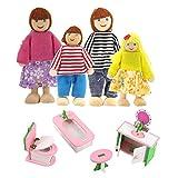 Homo Trends Meubles de maison de poupée en bois - Accessoires de maison de poupée - 4 pièces - 1 lot de 4 meubles de maison de poupée miniatures (table à manger, toilettes, baignoire et tabouret)