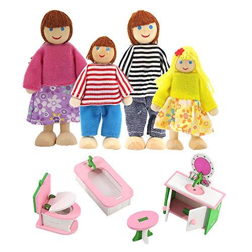Muebles de casa de muñecas de madera, accesorios de casa de muñecas de 4 piezas, casa de muñecas y 1 juego de 4 muebles en miniatura para casa de muñecas (tocador, inodoro, bañera y taburete)
