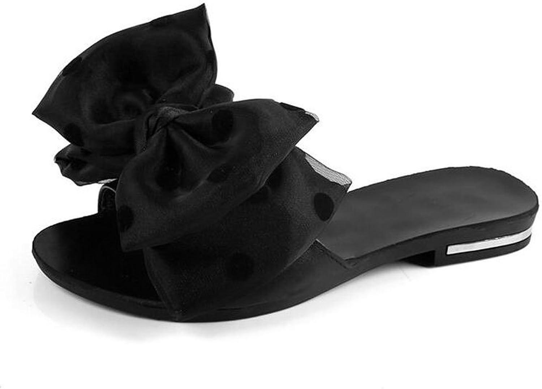 Women Slides Sandals Fashion Open Toe Women Flip-Flops Cute Lady's Bow Silky Slip-on Slippers