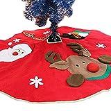 Árbol de Navidad falda, Designerbox 40 '/100 cm yute de copos de nieve vacaciones de Navidad Papá Noel Muñeco de nieve Elk alfombrilla para base de árbol de Navidad Vacaciones Fiesta Decoración