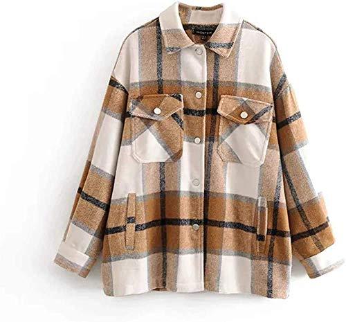 Kariertes Taschen Knöpfen Langarm Oversize Bluse Mantel Hemdjacke Holzfällerjacke Damen Mode (Khaki, XS)