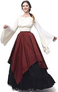 Women's Medieval Dress Retro Renaissance Costumes Irish Trumpet Sleeve Round Neck Peasant Long Gown