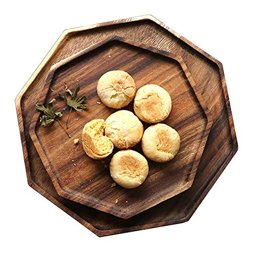 Set of 2 Acapcia Wooden Octagon Square Trays Serving Bread Plates for Fruit Salad Platter Vegetable Food Dish