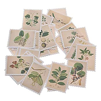 135 Pcs/3 Sets Post Stamp Stickers Vintage Postage Stamps Assortment Adhesive Paper Sticker Decor Envelope/Bag Seal by EORTA for Diary Bottles Scrapbook DIY Craft Gift Kids Students Herbs Theme