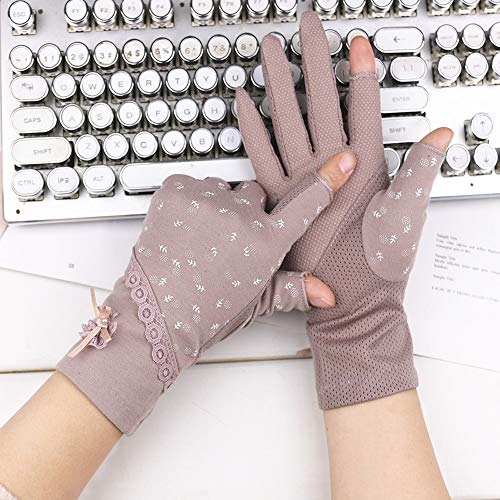 Yifuty Blumenspitze Handschuhe Fingerlose Handschuhe rutschfeste atmungsaktiv Handschuhe Sommer UV-Schutz Winter-Leder Fahren Handschuhe Kurz Elegante Handschuhe (schwarz) (Color : Purple)
