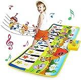 BelleStyle Alfombra de Piano, Alfombra Musical para 1 2 3 4 5 Años Niños Niñas, Estera de Piano Musical con 8 Sonido Instrumento Teclado Táctil Baile Tapete Juguetes para Bebé Niños, 100 * 36cm