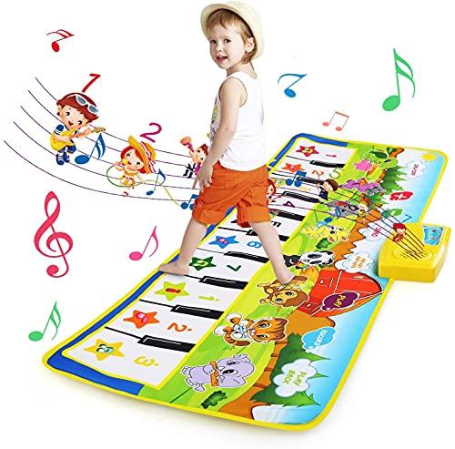 BelleStyle Tappeto Musicale Bambini Piano Mat, Tappeto Danza con 8 Strumenti 10 Tasti di Tastiera Pianoforte Musicale Tocco Mat Educativo Giocattolo per Bambini 3 a 6 Anni (100 x 36cm)