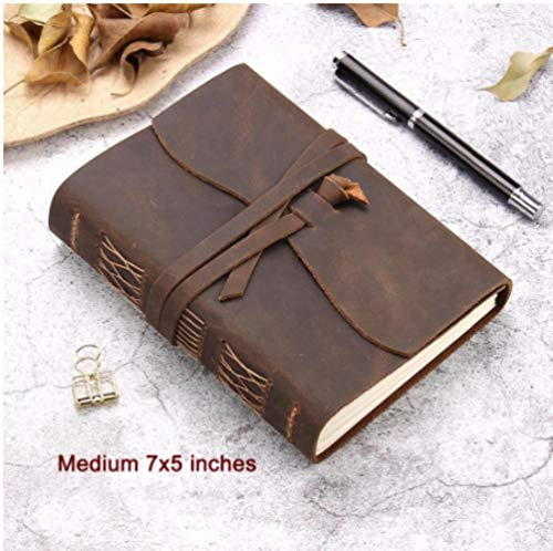 TOSISZ Leather Journal Travel Notebook Handmade Vintage Leather Bound Writing Notebook Men Women Unlined Travel Journal Writing,Coffee