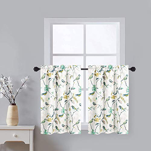 VOGOL Small Window Valances Curtains, Birds Printed Window Curtain Tier Pair 36 Inch Long Pocket Window Treatments for Kitchen Cafe, 2 Panels