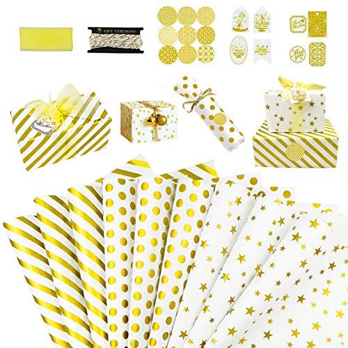 Geschenkpapier Geburtstag, AmzKoi Geschenkpapier Gold in 3 verschiedenen Mustern, recycelbarer Luxus Geschenkpapier Set zum Geburtstag, Valentinstag (70 cm x 50 cm, 9 Blatt)