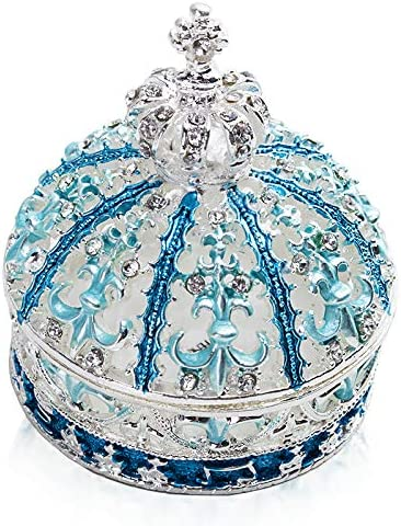 Teal and White Crystal Jewelry Box