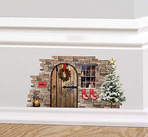 A PIENI colori fata di Natale folletto ELFO PORTA festività Adesivo da parete decalcomania Battiscopa DECORAZIONE NATALIZIA GHIRLANDA REGALI ALBERO DI NATALE