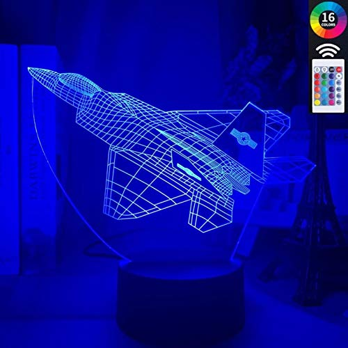 Luz nocturna 3D 3D LED ilusión lámpara luz nocturna 16 colores interruptor táctil cambio automático con control remoto para regalar a niños o hombres y mujeres amigos regalos