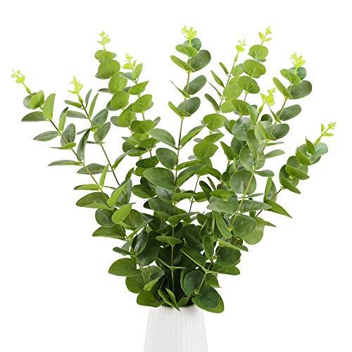 HUAESIN 10 Stück Künstliche Eukalyptus Pflanze Silber Dollar Blätter Kunstpflanzen Eukalyptus Plastik Pflanzen Künstlich Grünpflanzen für Balkon Garten Drinnen Draußen Frühling Fensterbank Deko Grün