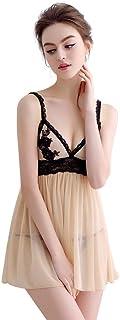 Women Lingerie Soft Sleepwear Set Babydoll Halter Dress Pyjamas Backless Adjustable Shoulder Strap Comfortable Transparent Lace Nightwear Plus Size