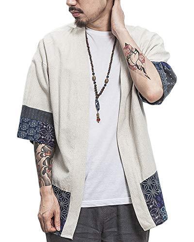 Uomo T-Shirt Cardigan Unisex Stampato Maglietta con Tasche Kimono Giapponese Casual Moda Primavera-Estate Beige XL