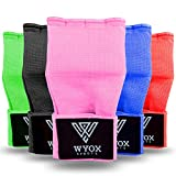 WYOX Boxing Hand Wraps Gel Knuckle Padded Inner Elastic Quick Wraps Fist Protection Boxing Gloves for Women Men Wrist Wrap MMA Muay Thai Training Handwraps (Pink, S-M)