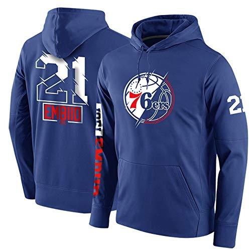 Philadelphia 76Ers Embiid # 21 NBA Sudadera con Capucha para Hombre, Polar De Manga Larga Jerseys Cálidos Pullover Sweater Casual Loose Sports Winter,Azul,M