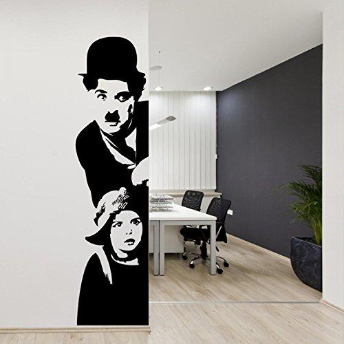 Adesivo murale Charlie Chaplin: Il Monello Wall Sticker Vinyl Decal Adesivo prespaziato in Vinile Design Arredamento per Decorazione pareti e muri Sinistra