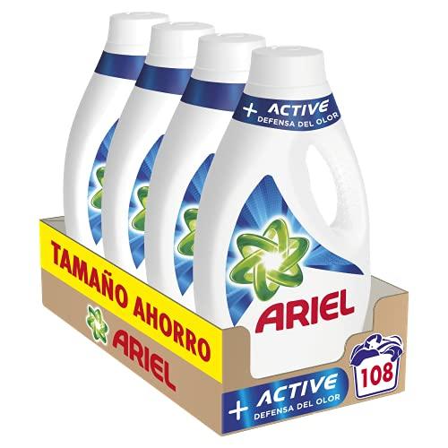 Ariel Detergente Lavadora Líquido, 108 Lavados (Pack 4 x 27), Active Odor Defense