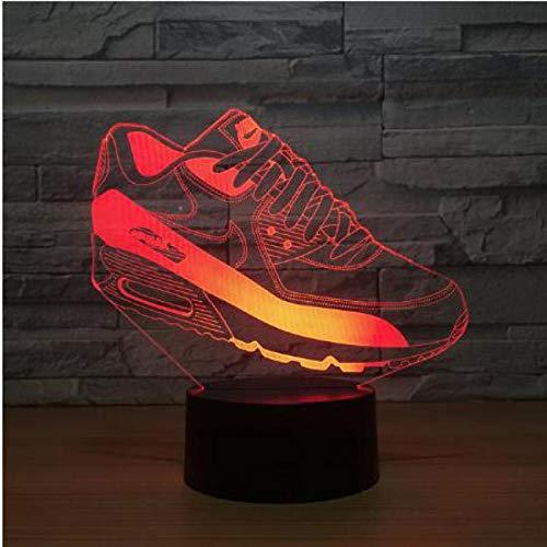 3D nachtlampje sneaker vorm 7 kleuren afstandsbediening touch slaapkamer lamp hoofddecoratie, kinderen kerstcadeau
