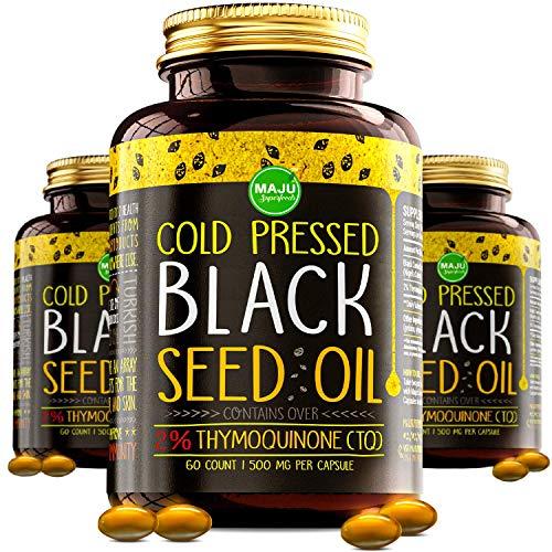 Cápsulas de aceite de semillas negras Maju's - prensado en frío, 3 % timoquinona, 100% aceite de semilla de Nigella Sativa de comino negro turco, BSO orgánico, sin OMG, aceite líquido de semilla negra 100% puro.