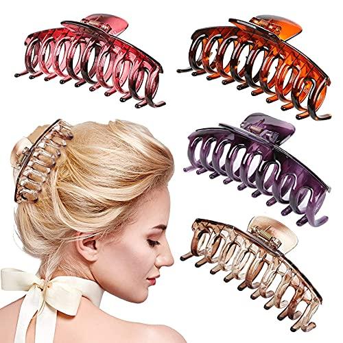4 Stück Große Haarklammer,Vintage Klaue Clips,Rutschfeste Haarnadel,Haarspangen Damen Set,Haarklammern Für Frauen,Haarspangen Mädchen,Haarspangen.