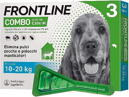 Frontline Combo, 3 Pipette, Cane Taglia M (10 - 20 Kg), Antiparassitario per Cani e Cuccioli di Lunga Durata, Protegge il Cane e Anche la Casa da Pulci, Zecche, Uova e Larve, Antipulci 3 Pipette
