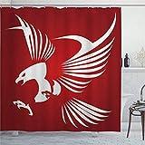EricauBird Duschvorhang Adler Kreativ Adler Logo American Strength Courage Freedom Immortal Spirit Symbol Duschvorhang mit Ringen Polyester Stoff Duschvorhänge mit Haken Bad Badezimmer Dekor