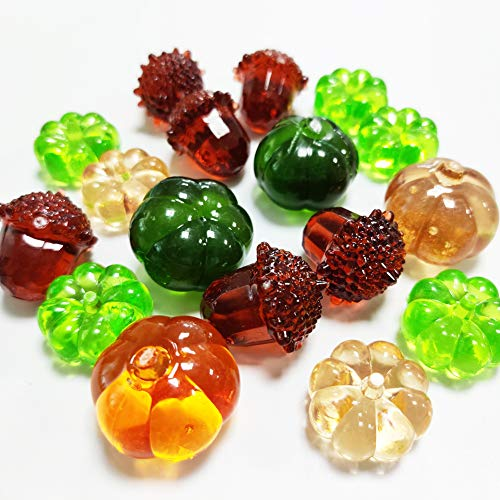 Fall Decor Mini Artificial Acrylic Pumpkin Gems Table Scatters Acrylic Acorn Plastic Pine Cone for Harvest Decor,Autumn,Thanksgiving,Season Decoration