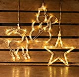 HaavPoois Paquete de 3 decoraciones navideñas para ventanas iluminadas con 45 LED blanco cálido, luces navideñas con ventosa, muñeco de nieve, reno, estrella, luz decorativa, luces LED navideñas