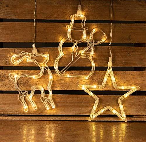 HaavPoois Lot de 3 décorations de fenêtre éclairées de Noël avec 45 LED blanc chaud, lumières de Noël avec ventouse Bonhomme de neige étoile de renne Lumière décorative Noël LED Décoration lumières