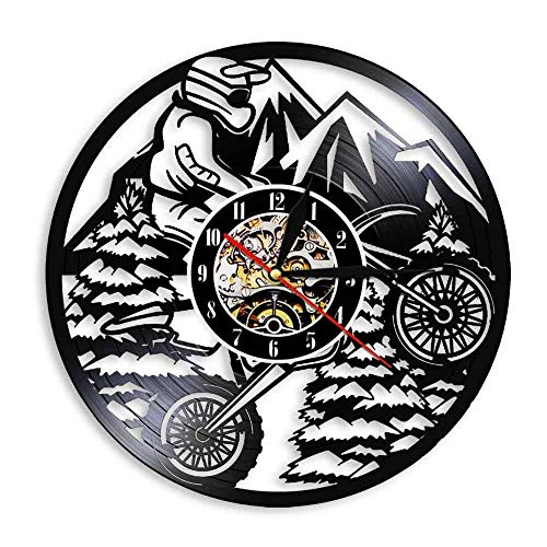 YANGSHUANG Handmade Vinilo Pared Reloj Deportes de Motor Reloj de Pared de Vinilo Reloj de Pared de Arte Creativo Hecho a Mano, Movimiento de Cuarzo silencioso, diámetro 30 cm