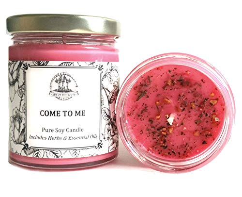 Come to Me 8 oz Soy Herbal Spell Candle for Love, Commitment, Seduction (Magick, Wiccan, Pagan, Hoodoo)