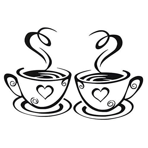 Cdet 1Pcs Kreative DIY Kaffeetasse Muster Wandtattoo Wohnzimmer Küche Esszimmer Aufkleber Wandsticker,31 * 18.7cm,Schwarz
