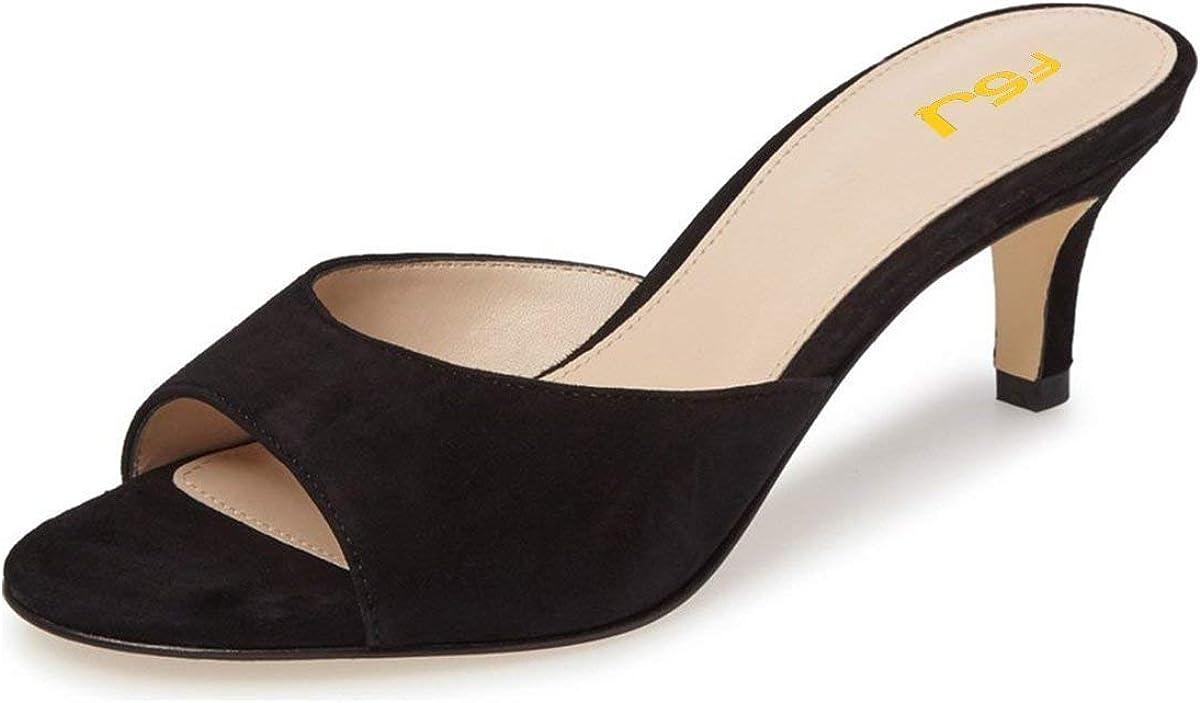 FSJ Women Comfort Low Heel Sandals Mules Peep Toe Suede Slip On Dress Pump Shoes 6CM Black Size 12 M US