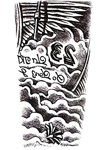 Hb-087 - Fake Tattoo für den Körper - Arme - Schulter - Wolken - 23 - Flügel - Mann