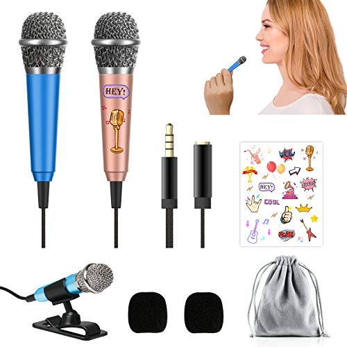 [2PCS] Mini Microphone Voice Recording, Portable Vocal Microphone Mini Karaoke Mic for iPhone Android Phone Laptop, Singing, Recording and Chatting (Rose Gold, Blue)