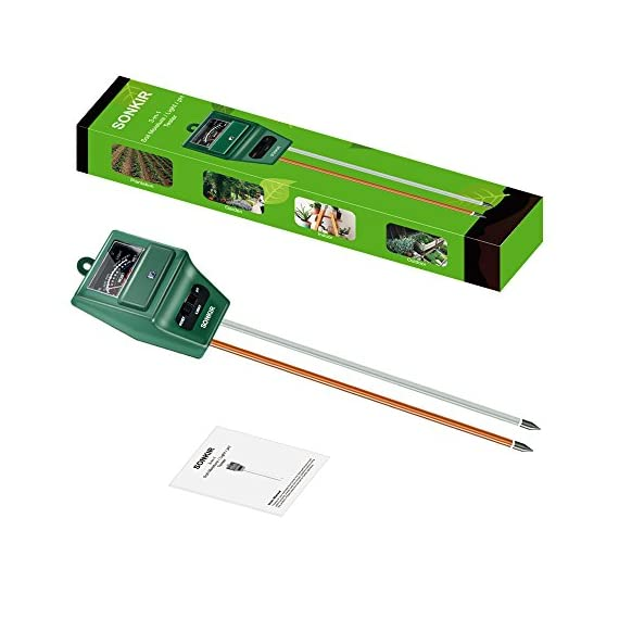 Sonkir Soil pH Meter, MS02 3-in-1 Soil Moisture/Light/pH Tester Gardening Tool Kits for Plant Care, Great for Garden… 6 Kindly NOTE: This soil tester can not be applied to test pH value of any other liquid. If the soil is too dry the indicator will not move, and water it before testing. 3-IN-1 FUNCTION: Test soil moisture, pH value and sunlight level of plant with our soil meter, helps you specialize in grasping when you need to water your plant. ACCURATE & RELIABLE: Double-needle Detection Technology strongly enhances the speed and accuracy of detecting and analyzing soil moisture and pH acidity.