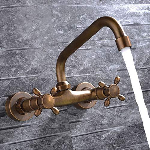 AXWT Negro Todo Bronce Pull Alambre En Pared Doble Manija Doble Faucet Rural European Estilo Retro Montado Montado Lavabo Calor Frío Girar Girar Agua-Toque (Color : Bronze)